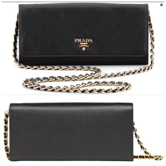 5c6db8fc5028 ... closeout prada saffiano wallet on chain box cardcloth 9c2d1 c79fc